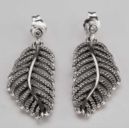 1:1 COPY S925 ALE Sterling Silver Feather Earring